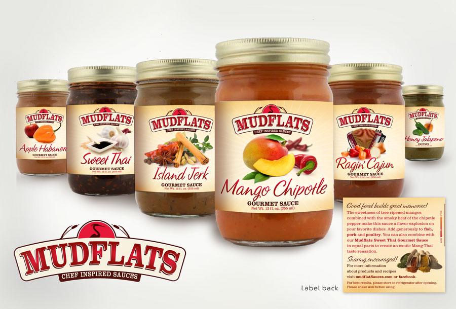 Mudflats  Gourmet  Sauce Labels and Logo