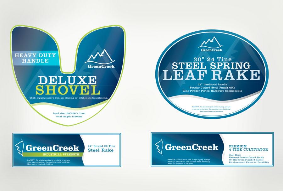 Green Creek Rake labels